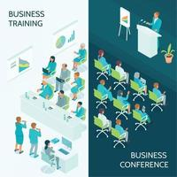 Business Education Isometric Banners Vector Illustration