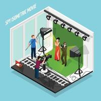Special Agents Shooting Movie Composition Vector Illustration