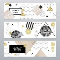 Stone Texture Realistic Banners Set Vector Illustration