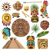 Ilustración de vector de conjunto de dibujos animados tradicionales mayas