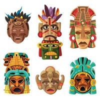 Ilustración de vector de conjunto de dibujos animados de máscara maya