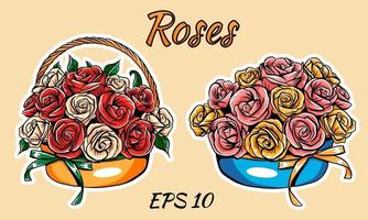 Vector basket with roses, isolated. Two types of bouquets.