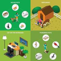 People With Pets Set Vector Illustration