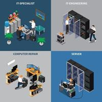IT Engineers 2x2 Icons Set Vector Illustration