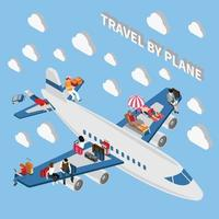 Travelling People Isometric Concept Vector Illustration