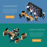 Banners de ingeniería de ti establecen ilustración vectorial vector