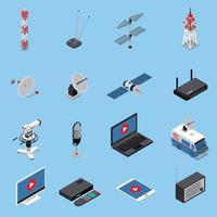 Telecommunication Isometric Icons Set Vector Illustration