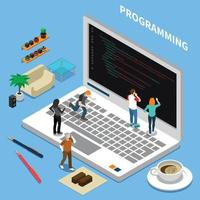 Programming Miniature Isometric Concept Vector Illustration
