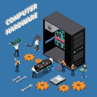 IT Engineer Isometric Compoisition Vector Illustration