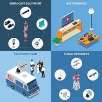 Telecommunication 2x2 Icons Set Vector Illustration