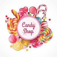 Candy Shop Round Frame Background Vector Illustration