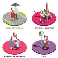 Romantic Relationship 2x2 Design Concept Vector Illustration