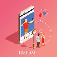 First Date Isometric Design Concept Vector Illustration