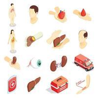 iconos isométricos de trasplante conjunto ilustración vectorial vector
