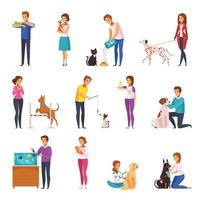 People With Pets Cartoon Set Vector Illustration