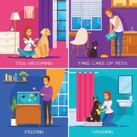 People With Pets 2x2 Design Concept Vector Illustration
