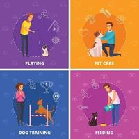 People With Pets 2x2 Cartoon Square Icons Vector Illustration