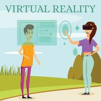 Augmented Virtual Reality Orthogonal Composition Vector Illustration
