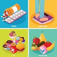 Ilustración de vector de concepto de diseño isométrico de control de diabetes