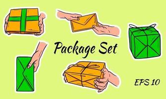 conjunto de paquetes postales vector