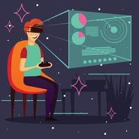 Computer Game Virtual Reality Background Vector Illustration