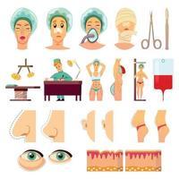 Cirugía plástica iconos ortogonales ilustración vectorial vector