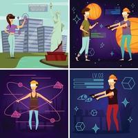 Virtual Reality Orthogonal Design Concept Vector Illustration