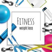 Ilustración de vector de marco realista de fitness de pérdida de peso
