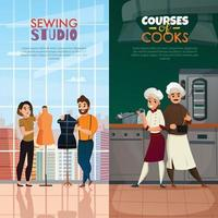 Cooks Tailors Banners Set Vector Illustration