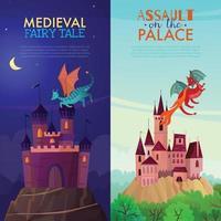 Banners verticales medievales establecen ilustración vectorial vector