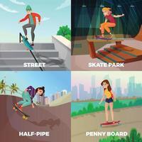 Extreme Skateboarding 2x2 Design Concept Vector Illustration
