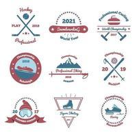 Winter Sports Color Emblems Set Vector Illustration