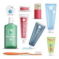 Ilustración de vector de conjunto realista de productos de cuidado dental
