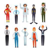 Women Professions Flat Characters Set Vector Illustration
