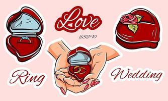 Marriage proposal set vector