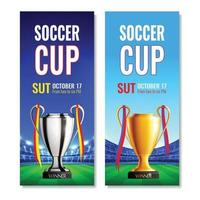 Soccer Cup Vertical Banners Vector Illustration