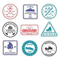 Winter Sports Stamps Vector Illustration