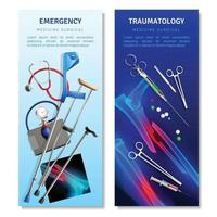 Surgical Traumatology Vertical Banners Vector Illustration