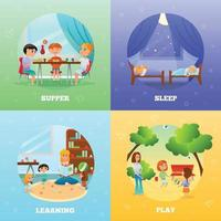 Kindergarten Characters Design Concept Vector Illustration