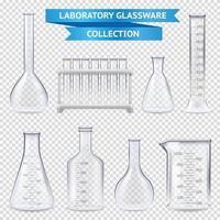 Realistic Laboratory Glassware Collection Vector Illustration