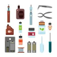 Vaping Accessories Flat Icons Set Vector Illustration