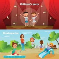 Kindergarten Characters Compositions Vector Illustration
