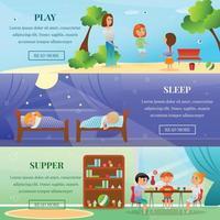 Kindergarten Characters Horizontal Banners Vector Illustration