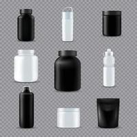 Ilustración de vector realista de botellas de deporte de fitness