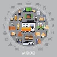 Warehouse Round Composition vector
