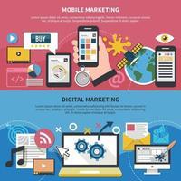 Mobile Marketing Horizontal Banners Vector Illustration