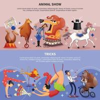 Circus Cartoon Two Banner Set Vector Illustration