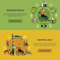 Ilustración de vector de conjunto de banner de dos personas con discapacidad
