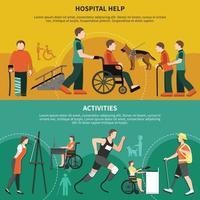 Ilustración de vector de conjunto de banner de persona discapacitada