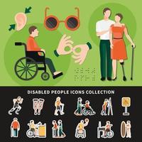 Ilustración de vector de composición de color de persona discapacitada